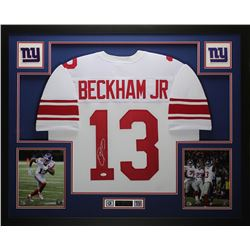 Odell Beckham Jr. Signed Giants 35x43 Custom Framed Jersey (JSA COA)