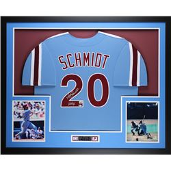 "Mike Schmidt Signed Phillies 35"" x 43"" Custom Framed Jersey Inscribed ""HOF 95"" (Fanatics)"