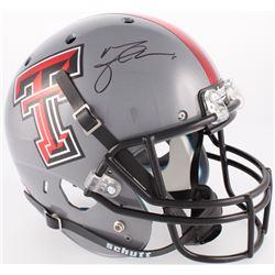 Michael Crabtree Signed Texas Tech Red Raiders Full-Size Helmet (JSA COA)