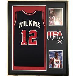 Dominique Wilkins Signed Teams USA 34x42 Custom Framed Jersey (JSA COA)