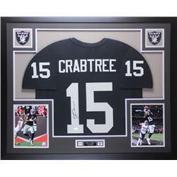 Michael Crabtree Signed Raiders 35x43 Custom Framed Jersey Display (JSA COA)