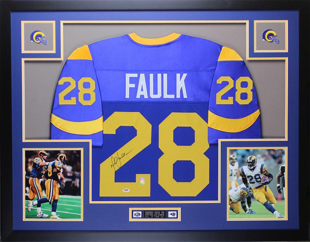 pretty nice 928c1 f0cf6 Marshall Faulk Signed Rams 35x43 Custom Framed Jersey ...