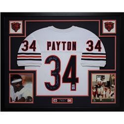 Walter Payton Signed Bears 35x43 Custom Framed Jersey with (5) Career Stat Inscriptions (PSA LOA  Pa