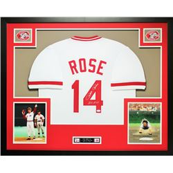 """Pete Rose Signed Reds 35x43 Custom Framed Jersey Inscribed """"Hit King"""" (JSA COA)"""