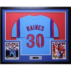 Tim Raines Signed Expos 35x43 Custom Framed Jersey (JSA COA)