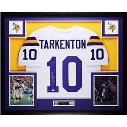"""Fran Tarkenton Signed Vikings 35x43 Custom Framed Jersey Inscribed """"HOF 86"""" (JSA COA)"""
