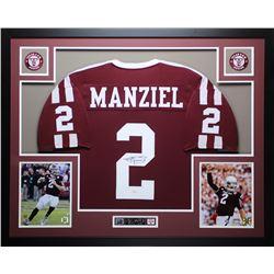 Johnny Manziel Signed Texas AM Aggies 35x43 Custom Framed Jersey (JSA COA)