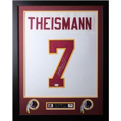 Joe Theismann Signed Redskins 35x43 Custom Framed Jersey (JSA COA)