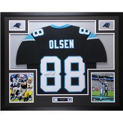 Greg Olsen Signed Panthers 35x43 Custom Framed Jersey (JSA COA)