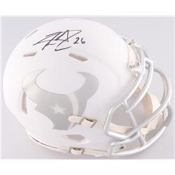 Lamar Miller Signed Texans White Ice Custom Matte Speed Mini-Helmet (JSA COA)