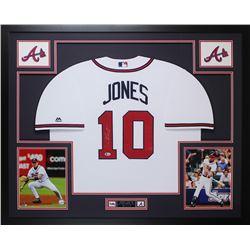 Chipper Jones Signed Braves 35x43 Custom Framed Jersey (Beckett COA)