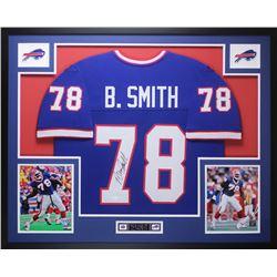 Bruce Smith Signed Bills 35x43 Custom Framed Jersey (JSA COA)