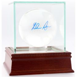 Nolan Ryan Signed Rangers Lead Crystal Baseball with High-Quality Display Case (PSA COA)
