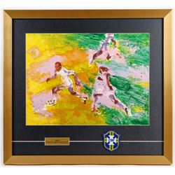"LeRoy Neiman ""Pele"" 21x23 Custom Framed Print Display with Brazil Patch"