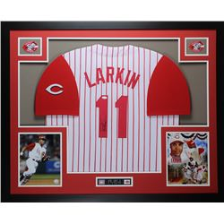 Barry Larkin Signed Reds 35x43 Custom Framed Jersey (JSA COA)
