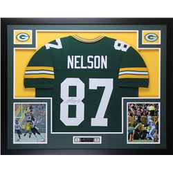 Jordy Nelson Signed Packers 35x43 Custom Framed Jersey (JSA COA)