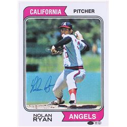 Nolan Ryan Signed Angels 10x14 Topps Photo (MLB Hologram  Ryan Hologram)