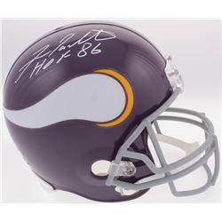 "Fran Tarkenton Signed Vikings Throwback Full-Size Helmet Inscribed ""HOF 86"" (Radtke COA)"