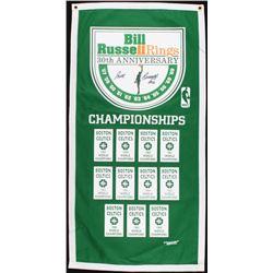 Bill Russell Signed Celtics 17x35 30th Anniversary Championship Banner (PSA COA)