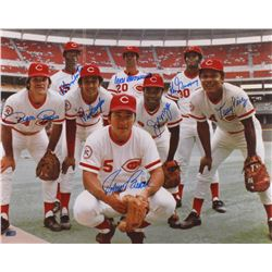 "Reds ""Big Red Machine"" 16x20 Photo Signed by (8) With Pete Rose, Joe Morgan, Tony Perez, Johnny Benc"
