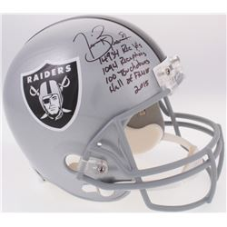 Tim Brown Signed Raiders Full-Size Helmet with (4) Career Stat Inscriptions (Radtke COA  Brown Holog