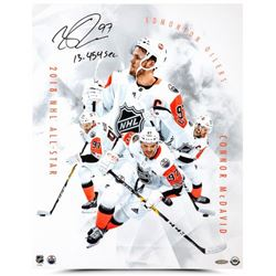 "Connor McDavid Signed Oilers ""All-Star Collage"" 16x20 Photo Inscribed ""13.454 Sec."" (UDA COA)"