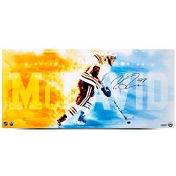 "Connor McDavid Signed Oilers ""Fire Speed"" 12x26 Photo (UDA COA)"