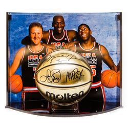 Michael Jordan, Larry Bird  Magic Johnson Signed Team USA Limited Edition Molten Gold Basketball Cur