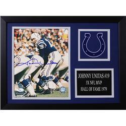 Johnny Unitas Signed Colts 14x18.5 Custom Framed Photo Display (JSA COA)