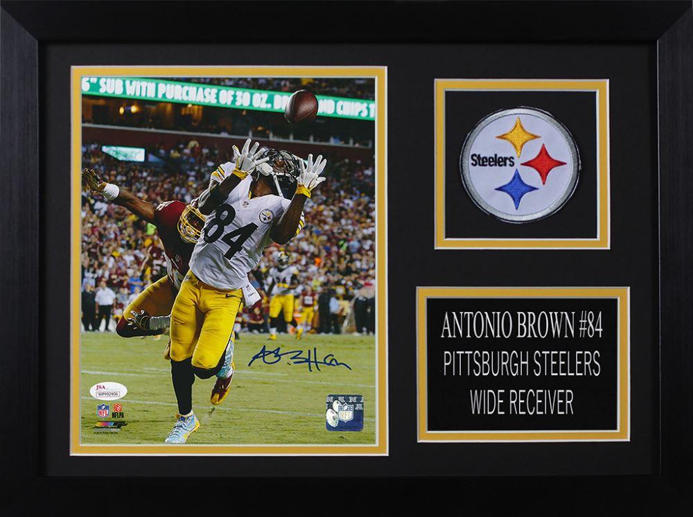 d9dc936f485 Image 1 : Antonio Brown Signed Steelers 14x18.5 Custom Framed Photo Display  (JSA