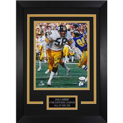 "Jack Lambert Signed Steelers 14x18.5 Custom Framed Photo Display Inscribed ""HOF '90"" (JSA COA)"