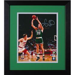 Larry Bird Signed Celtics 13.75x15.5 Custom Framed Photo Display (Beckett COA)