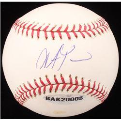 Steve Pearce Signed OML Baseball (UDA COA  MLB Hologram)