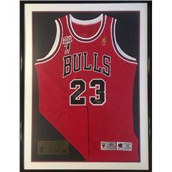 Michael Jordan Signed Bulls 34x50 Custom Framed Limited Edition Champion Jersey (UDA COA)