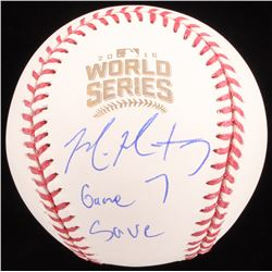"Mike Montgomery Signed 2016 World Series Baseball Inscribed ""Game 7 Save"" (Schwartz COA)"