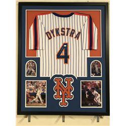 Lenny Dykstra Signed Mets 34x42 Custom Framed Jersey (JSA COA)
