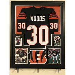 Ickey Woods Signed Bengals 34x42 Custom Framed Jersey (JSA COA)