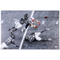 Julian Edelman Signed Patriots 20x30 Custom Framed Photo on Canvas (JSA COA)
