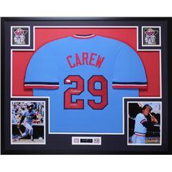 "Rod Carew Signed Twins 35x43 Custom Framed Jersey Inscribed ""HOF 91"" (JSA COA)"