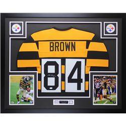 Antonio Brown Signed 35x43 Custom Framed Throwback Bumblebee Steelers Jersey (JSA COA)