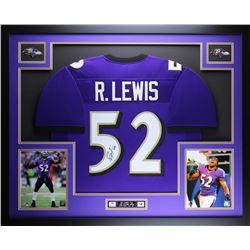 "Ray Lewis Signed Ravens 35"" x 43"" Custom Framed Jersey (JSA COA)"