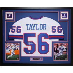 "Lawrence Taylor Signed Giants 35"" x 43"" Custom Framed Jersey (JSA COA)"