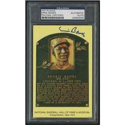 Ernie Banks Signed Cubs Gold Hall of Fame Postcard (PSA Encapsulated)