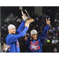 "Jon Lester  Javier Baez Signed Cubs 16x20 Photo Inscribed ""NLCS Co-MVP's"" (Schwartz Sports COA)"