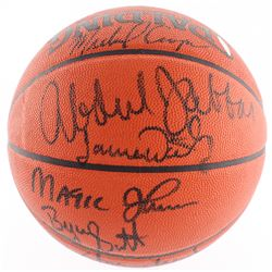 Lakers Showtime Official NBA Game Ball Signed by (8) with Michael Cooper, Kareem Abdul-Jabbar, Magic