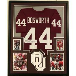 Brian Bosworth Signed Oklahoma Sooners 34x42 Custom Framed Jersey (JSA COA)