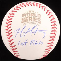 """Mike Montgomery Signed 2016 World Series Baseball Inscribed """"Last Pitch"""" (Schwartz COA)"""