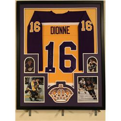 "Marcel Dionne Signed Kings 34x42 Custom Framed Jersey Inscribed ""HOF 92"" (JSA COA)"