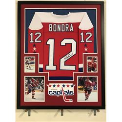 Peter Bondra Signed Capitals 34x42 Custom Framed Jersey (JSA COA)