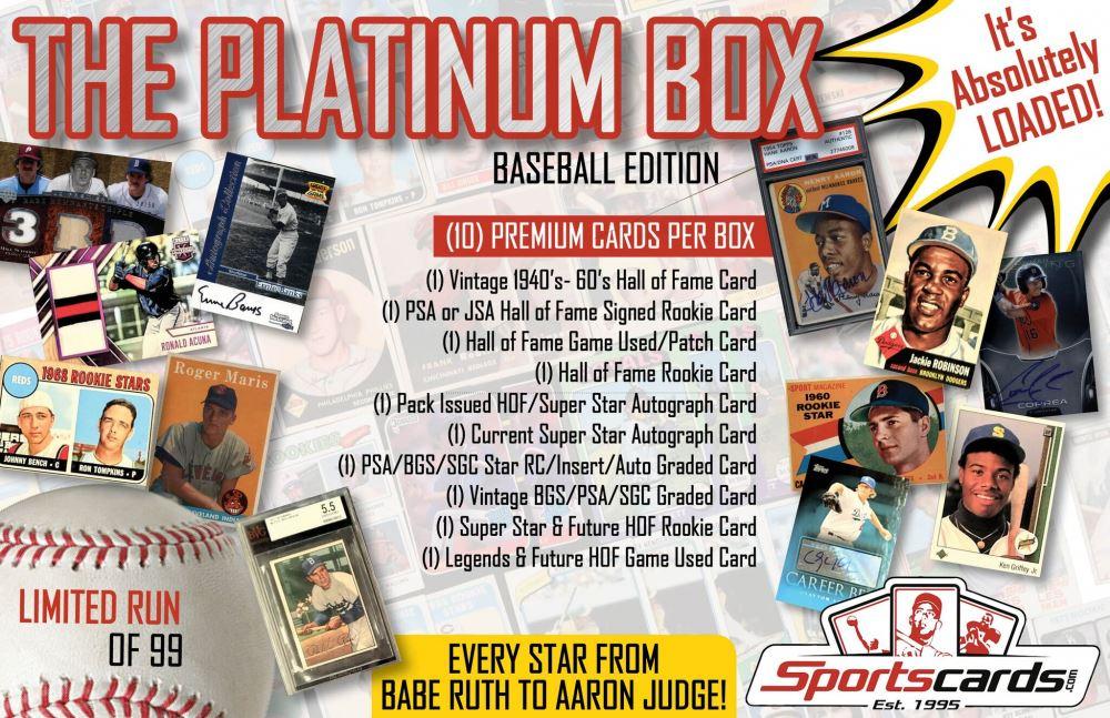 âœthe Platinum Boxâ Premium Baseball Card Mystery Box 10